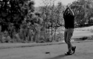 teeing off at Handi-Crafters Benefit
