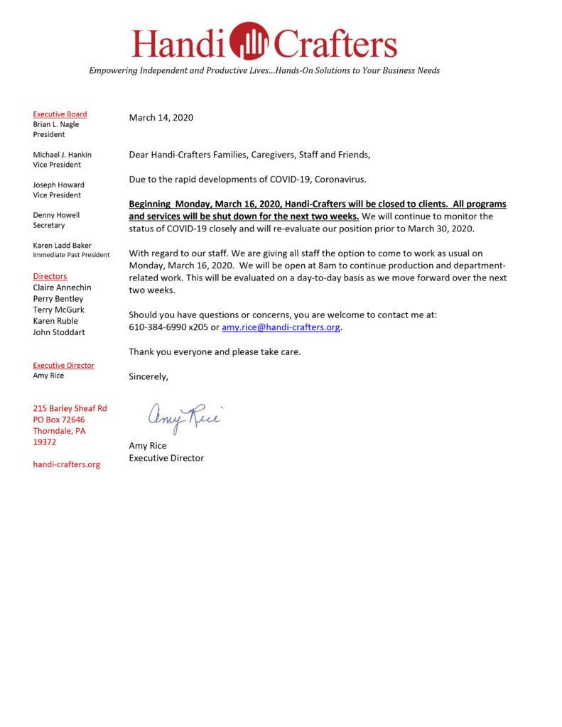 Coronavirus Alert from Handi-Crafters